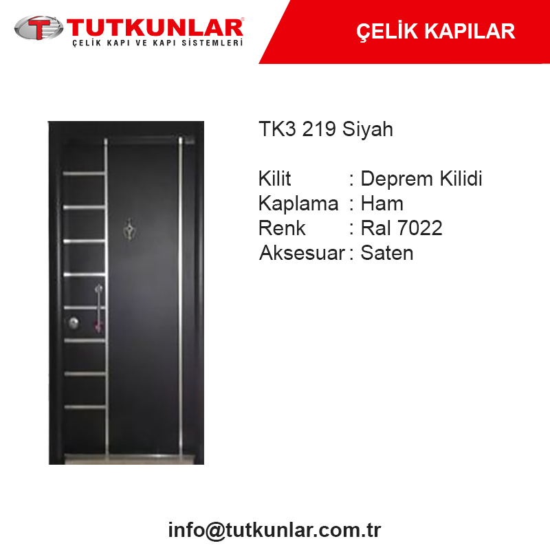 Çelik Kapı TK3 219 Siyah